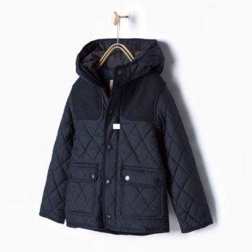 sewa-Perlengkapan Musim Dingin-Zara Boys Quilted Navy Jacket with Hood