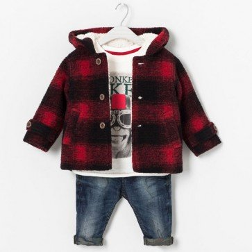 sewa-Perlengkapan Musim Dingin-Zara Baby Checked Coat With Hood