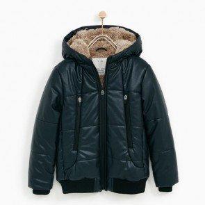 sewa-Perlengkapan Musim Dingin-Zara Boys Faux Leather Jacket With Hood
