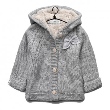 sewa-Perlengkapan Musim Dingin-Zara Cable Knit Coat With Bows (12-18 month)
