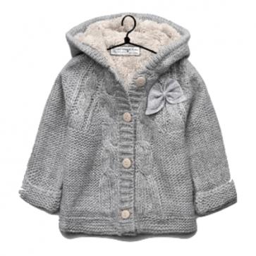 sewa-Perlengkapan Musim Dingin-Zara Cable Knit Coat With Bows (12-18 month)