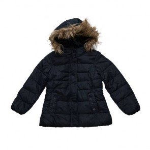 sewa-Perlengkapan Musim Dingin-Zara Winter Jacket Navy With Faux Fur Hood