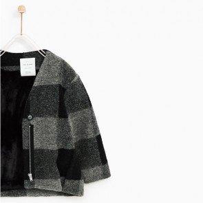 sewa-Perlengkapan Musim Dingin-Zara Checked Jacket With Faux Fur