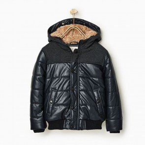 sewa-Perlengkapan Musim Dingin-Zara Boys Faux Leather Jacket With Hood 8 Tahun