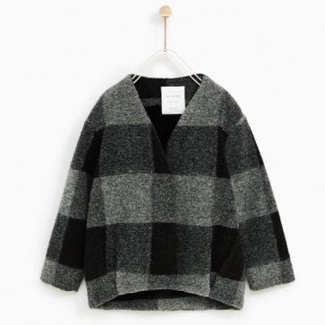 sewa-Perlengkapan Musim Dingin-Zara Checked Jacket With Faux Fur