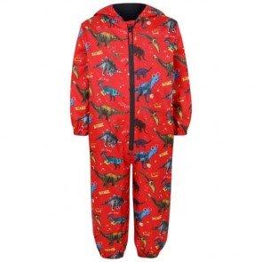 sewa-Perlengkapan Musim Dingin-Red Dinosaur Print Puddle Suit